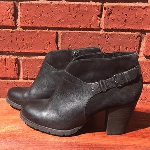 Clarks Leather and Suede Black Heeled Booties